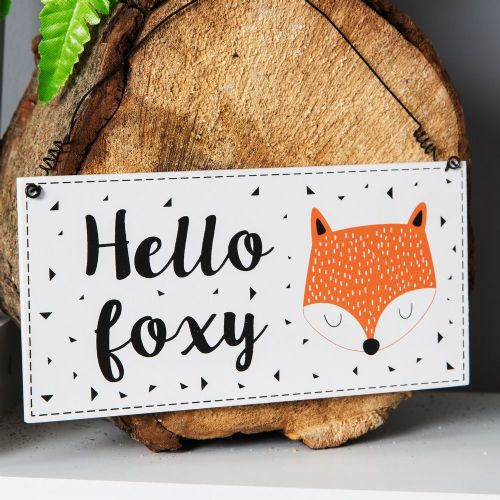 Hello Foxy Wooden Hanging Plaque